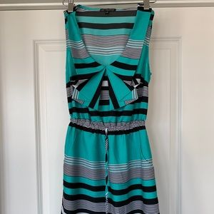 Dresses & Skirts - Turquoise and Black Striped Sundress